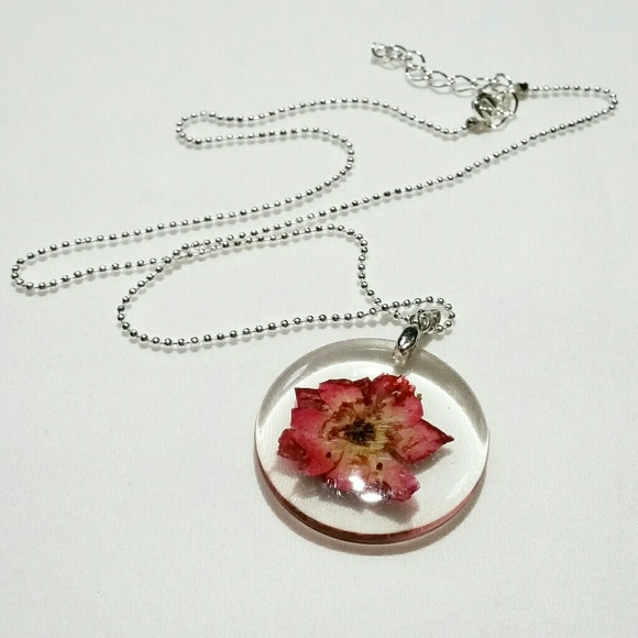 Pressed Flower Choker Necklace with Layered Heart Necklace Layered necklace set Chunky chain Genuine Flower Pressed